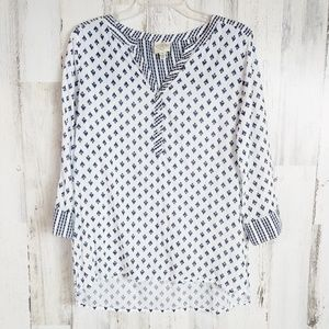 Women's Size M Tunic Top V-Neck 3/4 Sleeve Boho